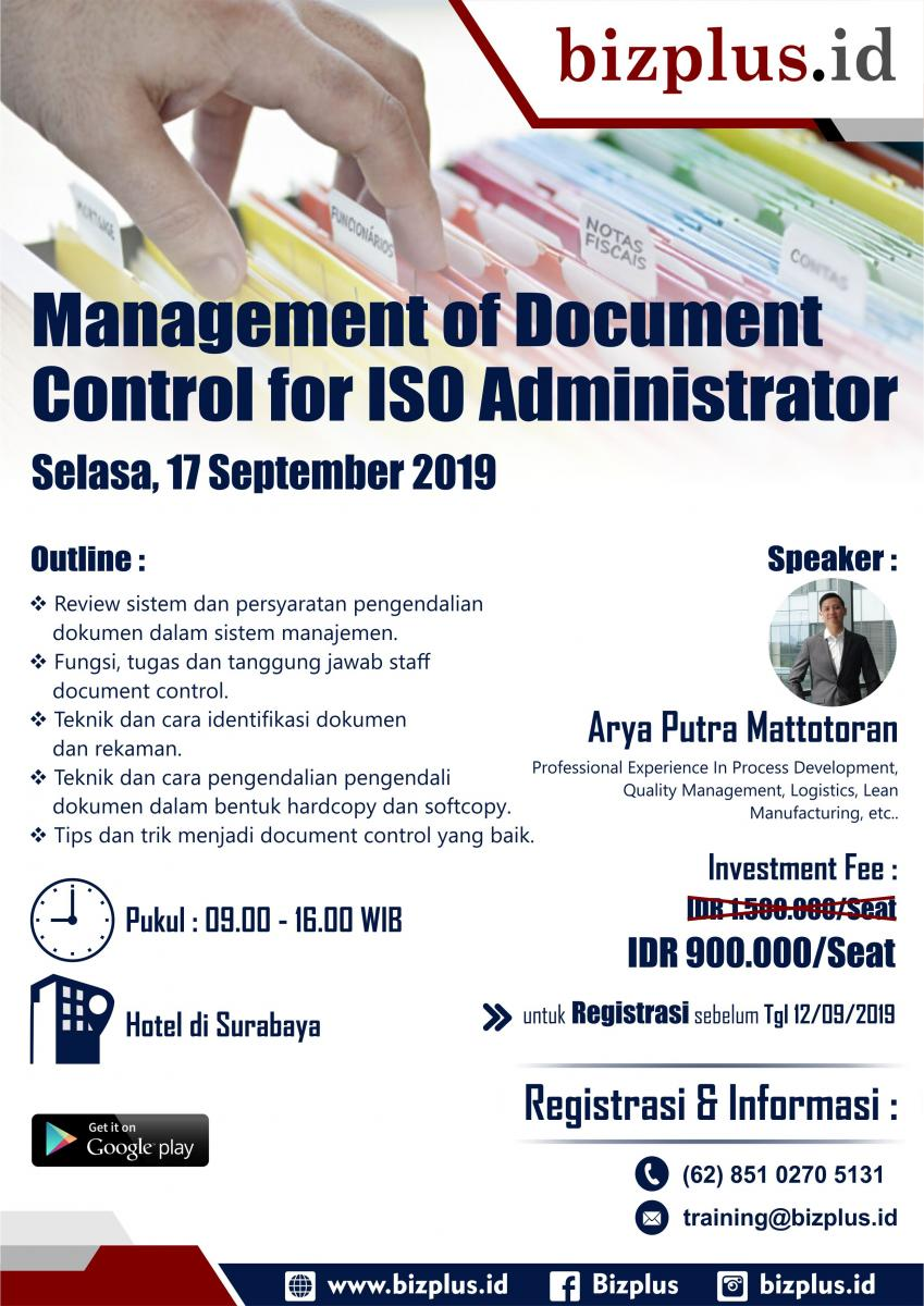 Management of Document Control for ISO Administrator (Public Training)
