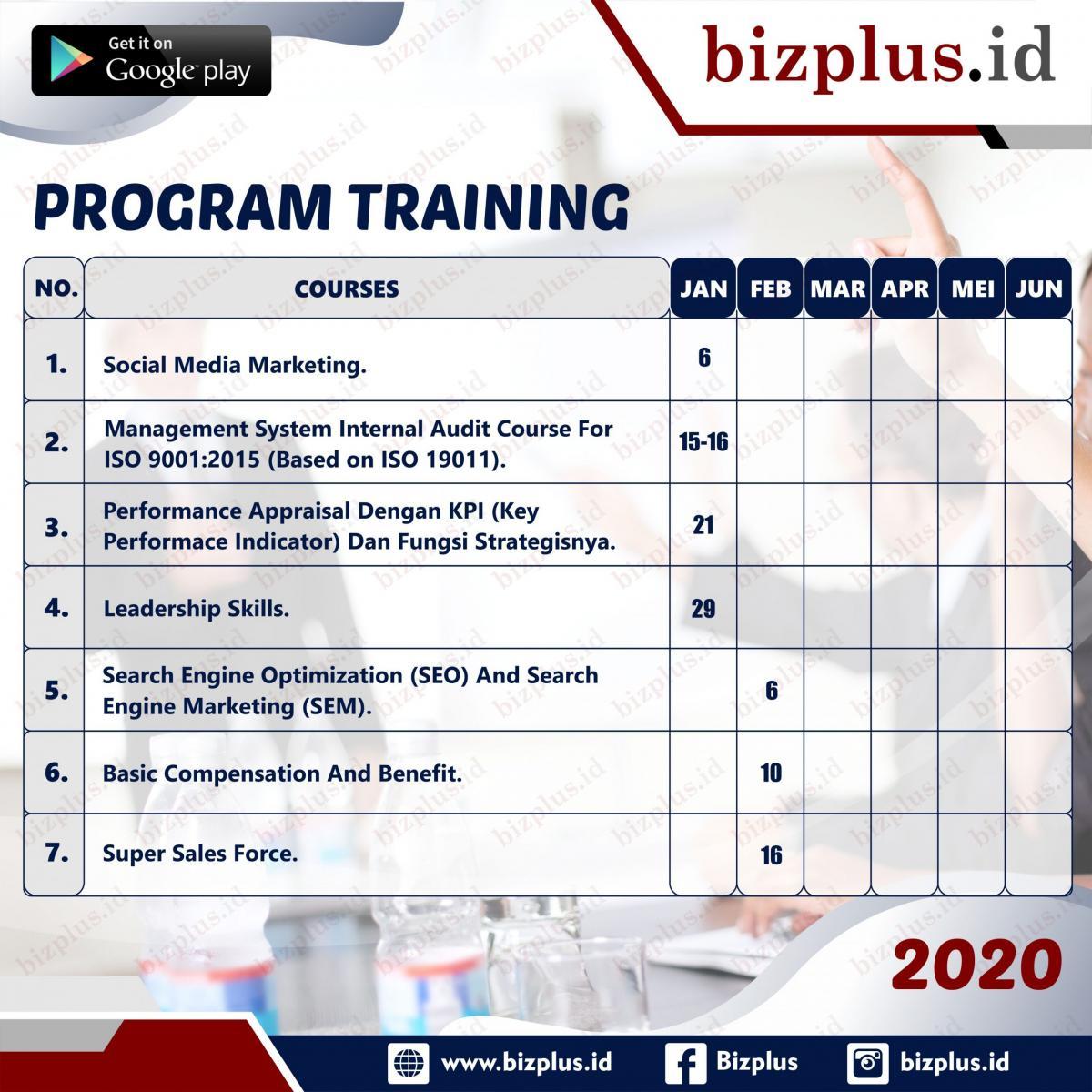 Program Training Planning 2020 (Socmed) Slide 1